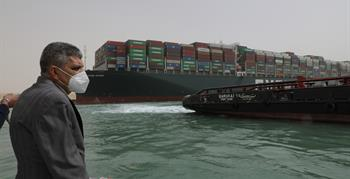 Continuing the Floatation Works of the Grounding Vessel in the Suez Canal